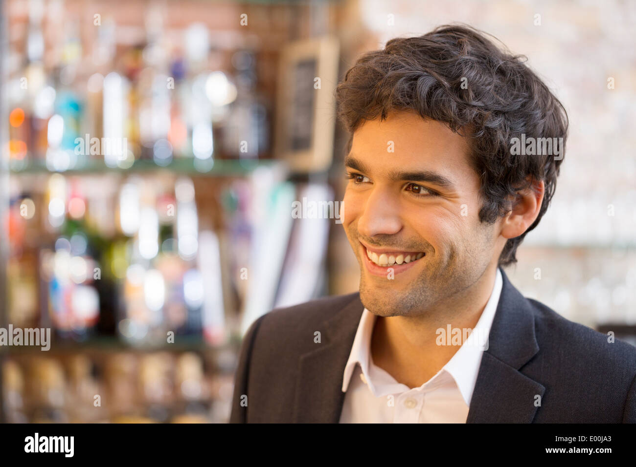 Male smiling cheerful coffee bar - Stock Image