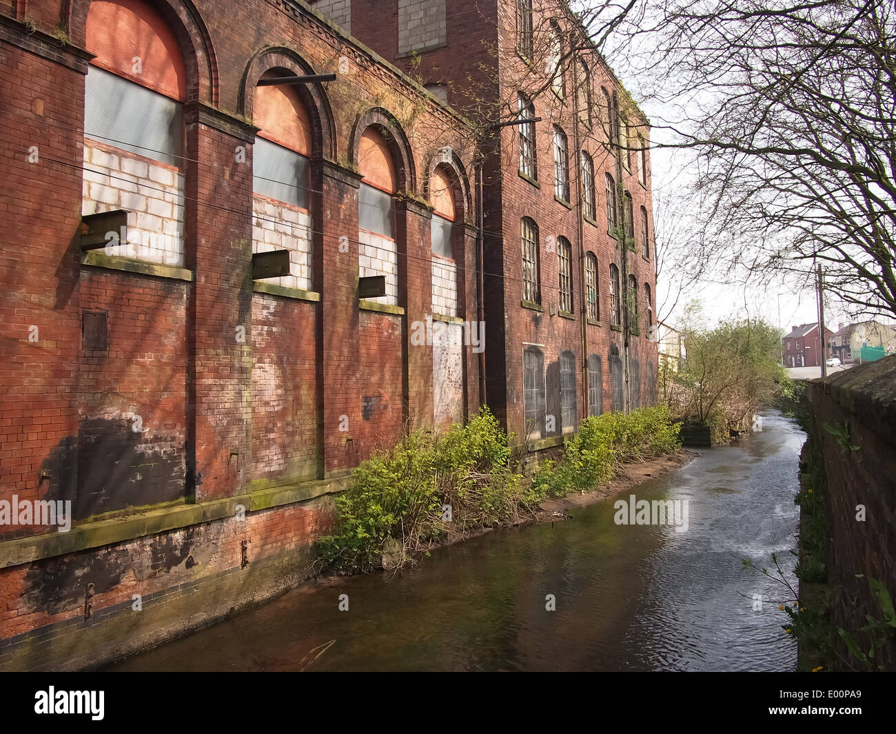 Lodge Mill and the river irk in Middleton, Greater Manchester, EnglandStock Photo