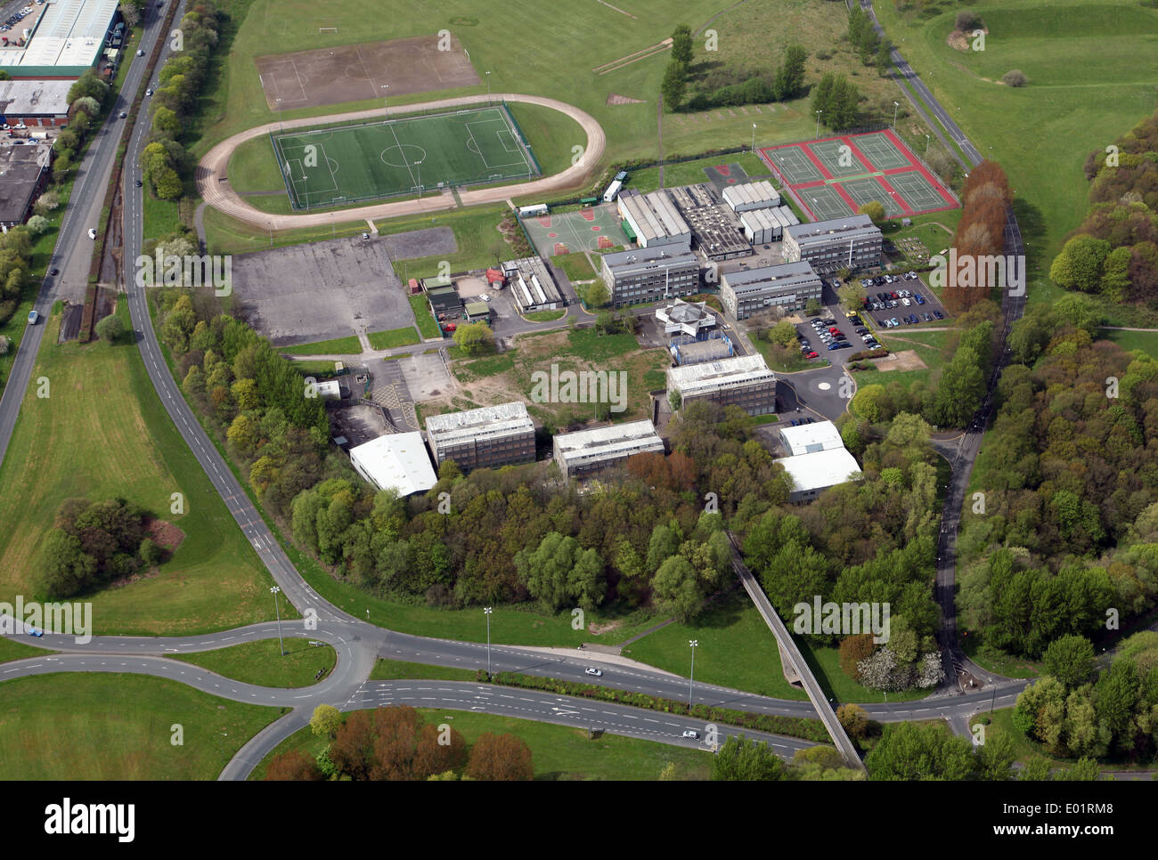 aerial view of Glenburn Sports College in Skelmersdale - Stock Image