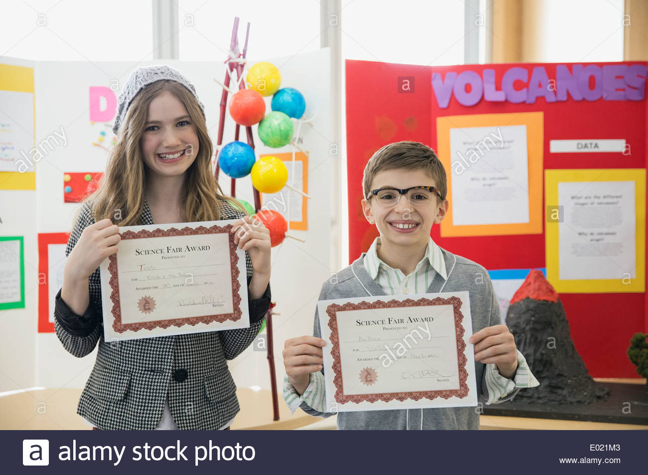 elementary students with awards at science fair stock photo