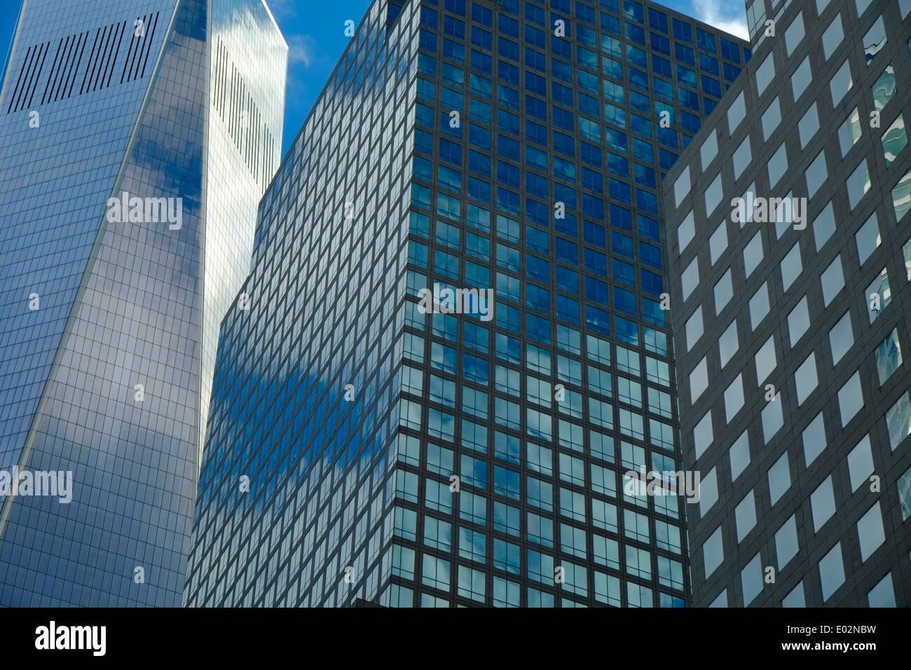 Modern office buildings, Financial district, Manhattan, New York - Stock Image