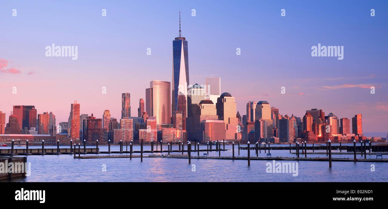 New York Skyline Viewed over the Hudson River, New York, USA - Stock Image