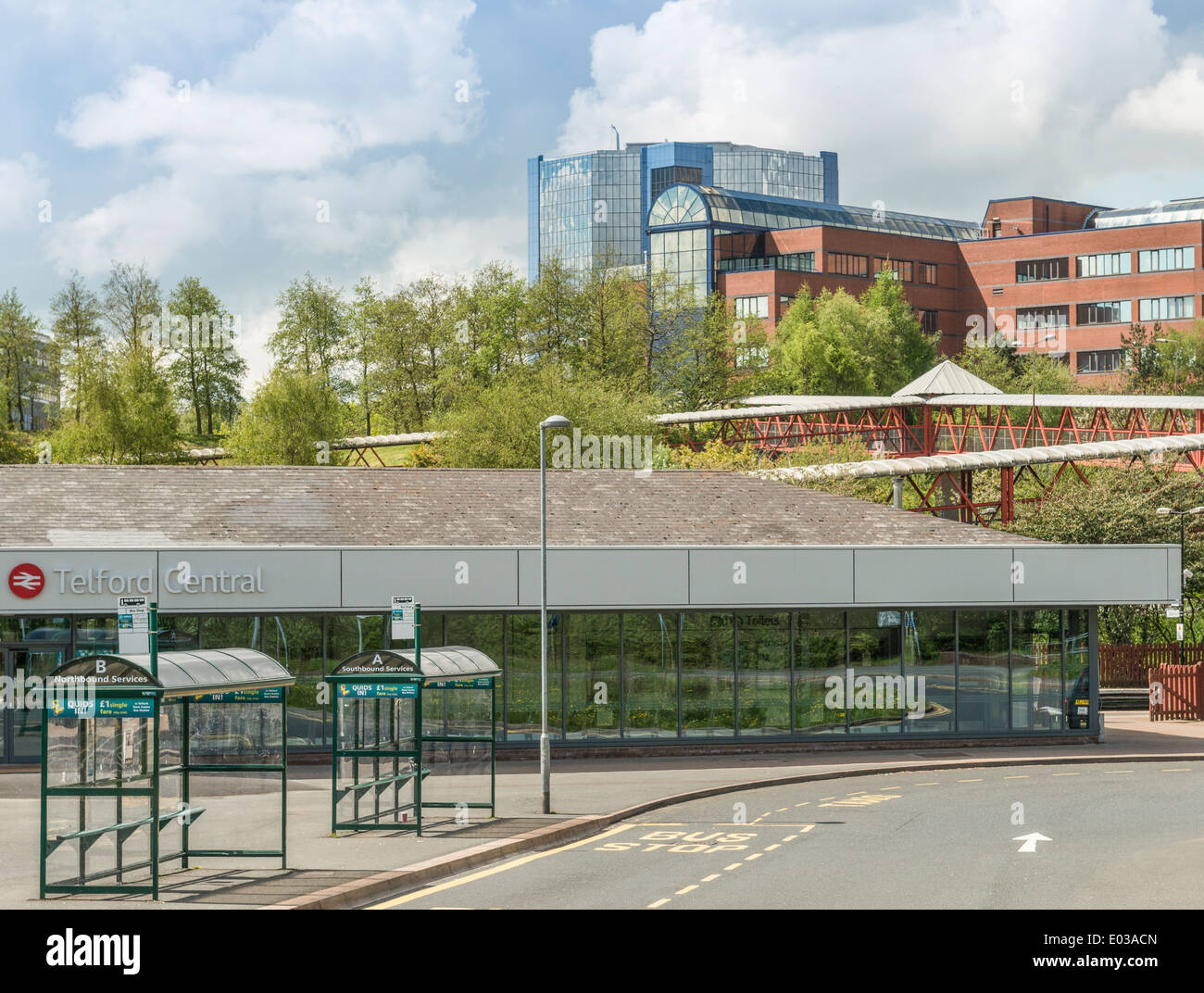 Telford Central train station and town centre in the background, Shropshire - Stock Image