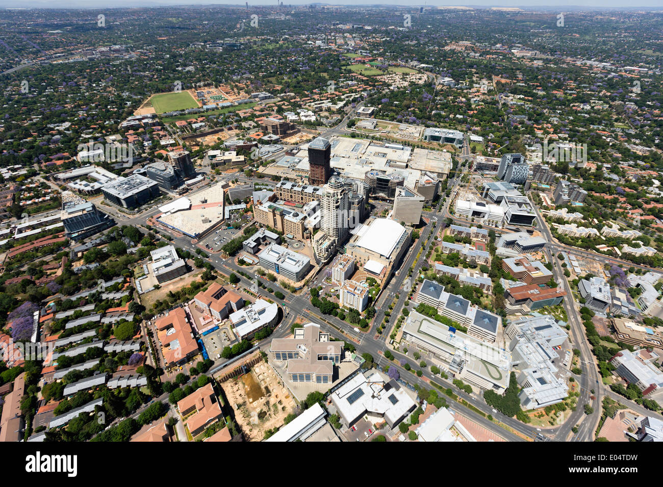 Aerial view of Sandton high-rise buildings, Johannesburg,South Africa. - Stock Image