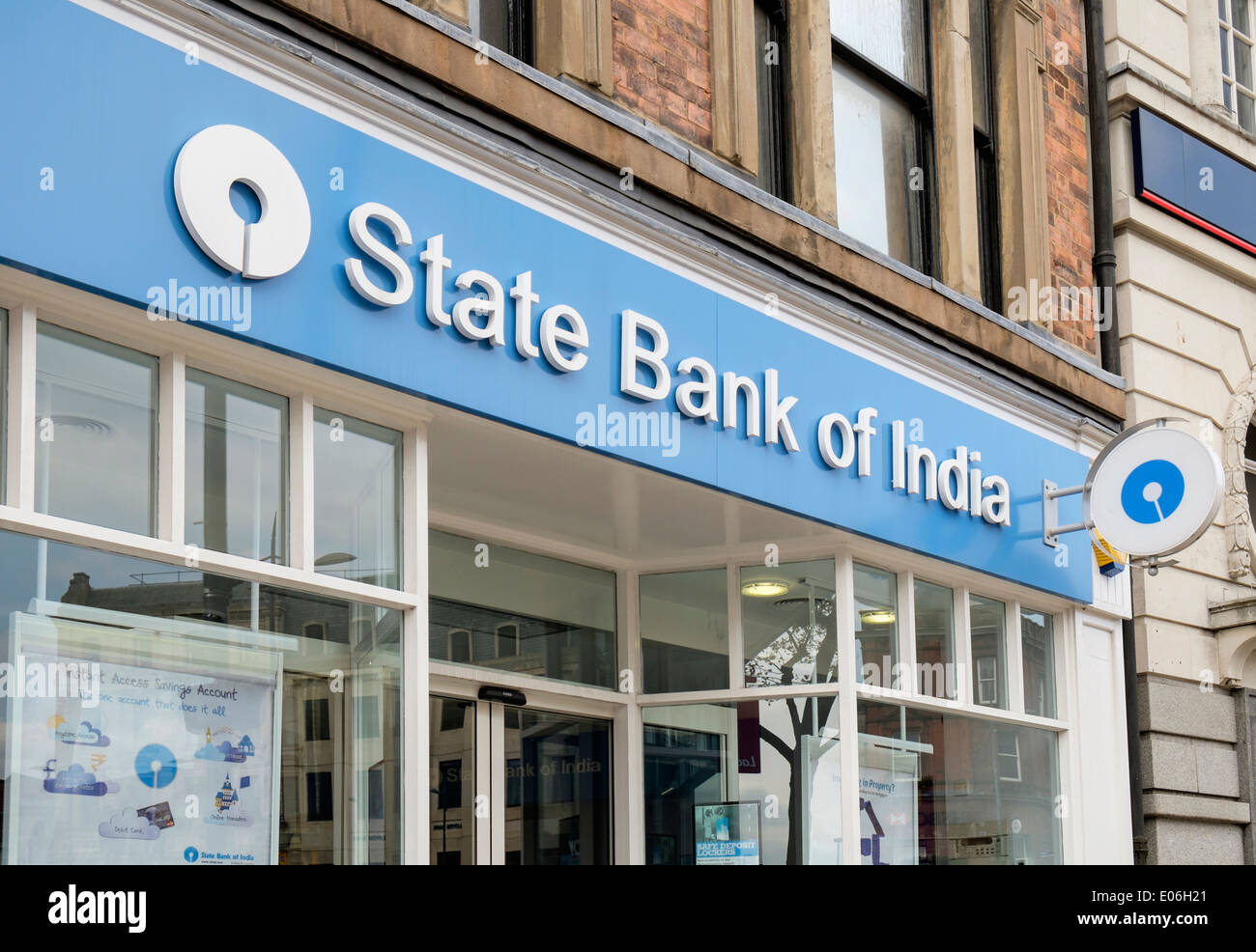 State Bank of India sign above the local branch for the large population of Asians in Wolverhampton, West Midlands, - Stock Image