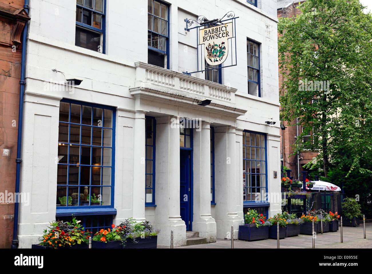 Babbity Bowster pub on Blackfriars Street in Glasgow's Merchant City, Scotland, UK Stock Photo