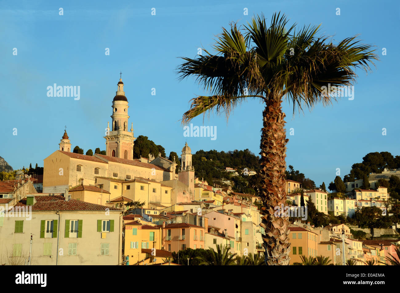 View of Old Town Menton Alpes-Maritimes France - Stock Image