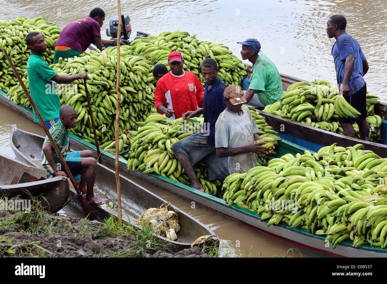Bananas are loaded, boats on the river Rio Baudo, Choco province, Colombia - Stock Image
