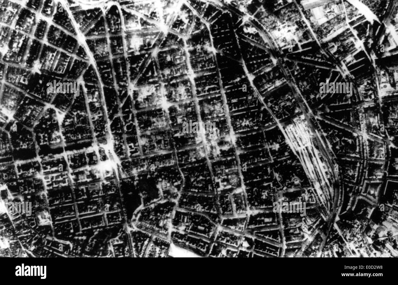 DUSSELDORF burned out after the RAF attack on 12 June 1943 - Stock Image