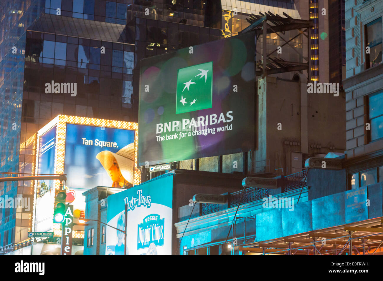 Advertising for the French bank, BNP Paribas, is seen in New York - Stock Image