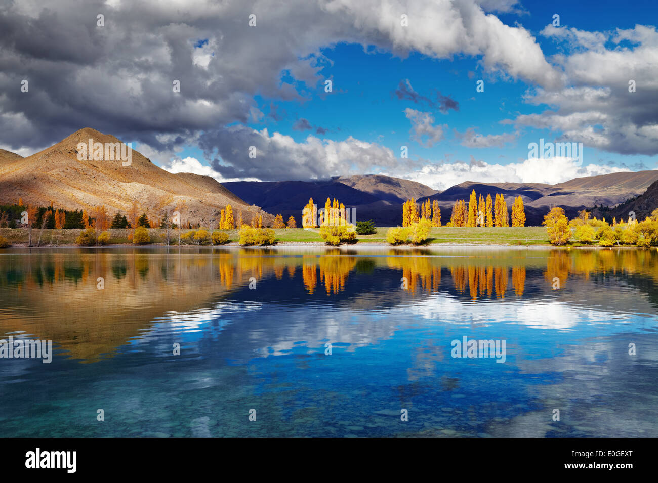 Mountain landscape in autumn colors, Lake Benmore, New Zealand - Stock Image