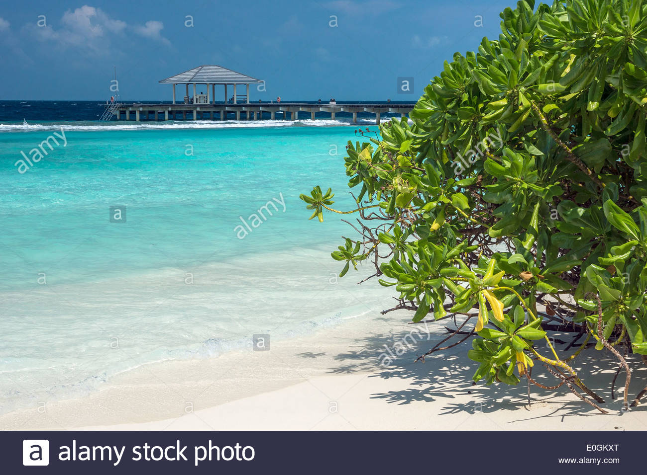 Maldives : beach, lagoon and jetty (pier) of Royal Island resort and spa on Horubadhoo island - Baa atoll - Stock Image