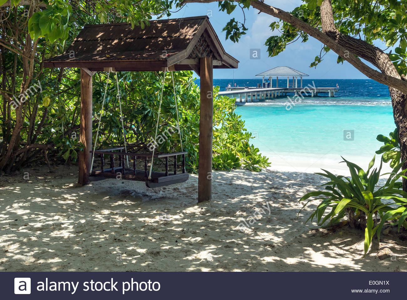 Maldives : Royal Island resort and spa on Horubadhoo island - Baa atoll - Stock Image