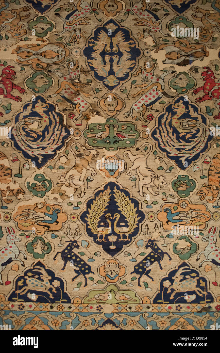 Doha. Qatar. Museum of Islamic Art. Silk Tapestry (known as 'The Franchetti') Iran (Kashan) c.1575. - Stock Image