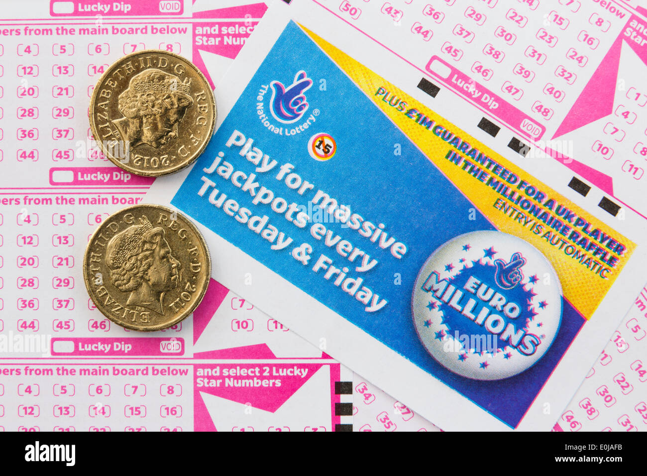 UK National Lottery Euro Millions payslips with number boards for selecting numbers and two £1 coins from above. Stock Photo
