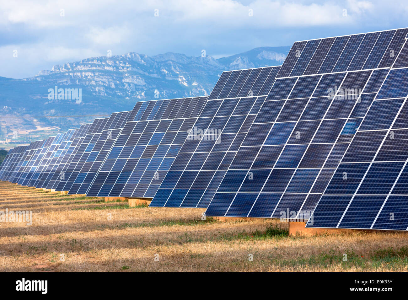 A field of solar panels in La Rioja, Northern Spain Stock Photo