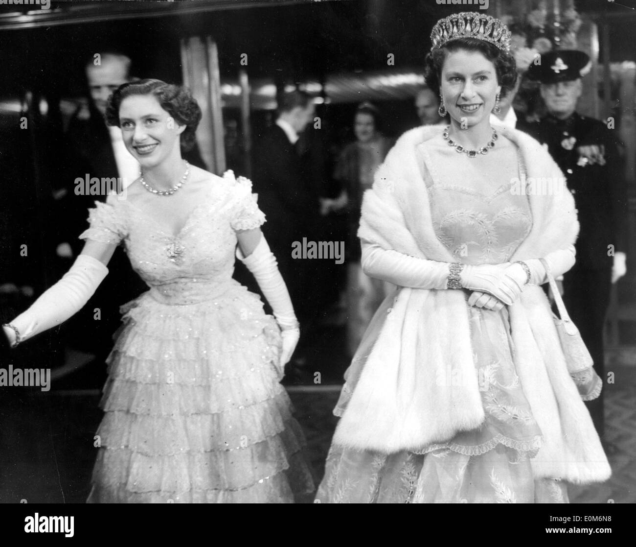 Queen Elizabeth II and Princess Margaret in ball gowns Stock Photo ...