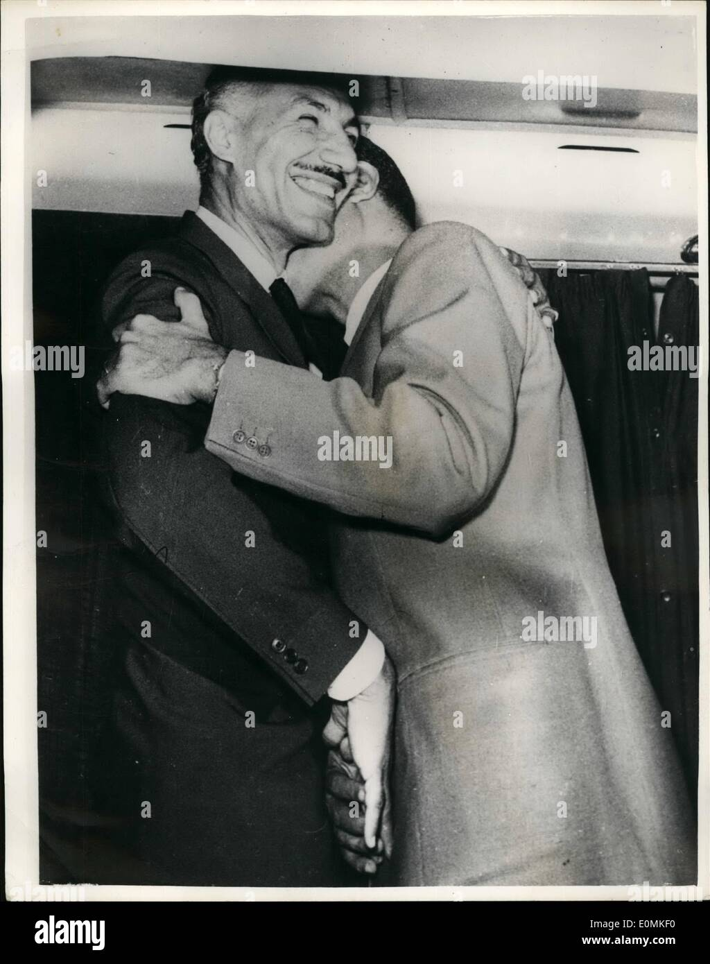 Oct. 10, 1955 - Gamal Salem - Egypt's Deputy Premier Greeted by Colonel Nasser on Return from Asia.: Egypt's - Stock Image