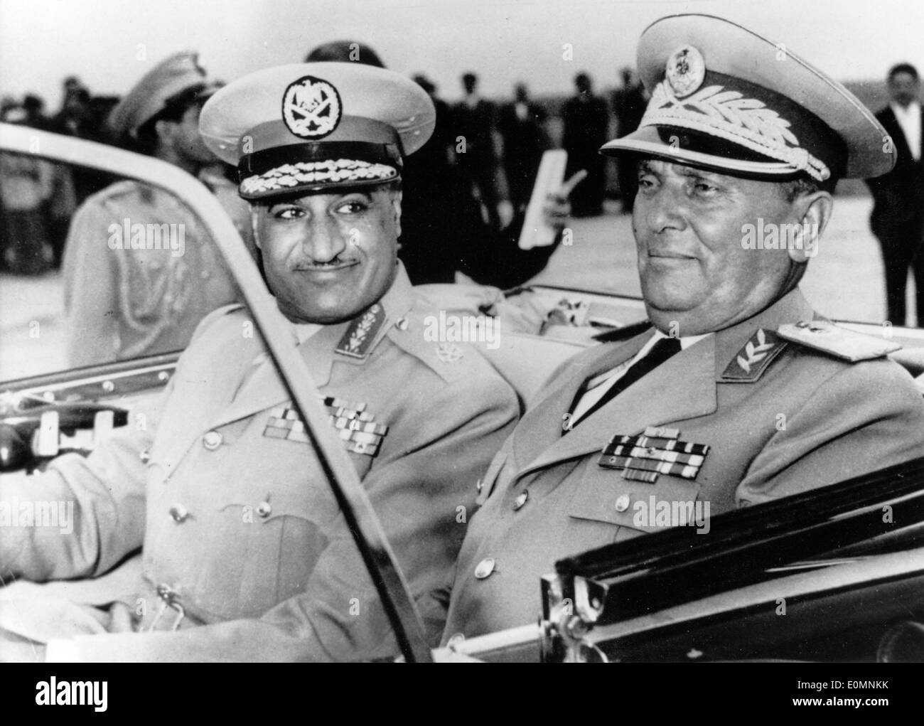 Josip Tito and Gamal Abdel Nasser riding in a car - Stock Image