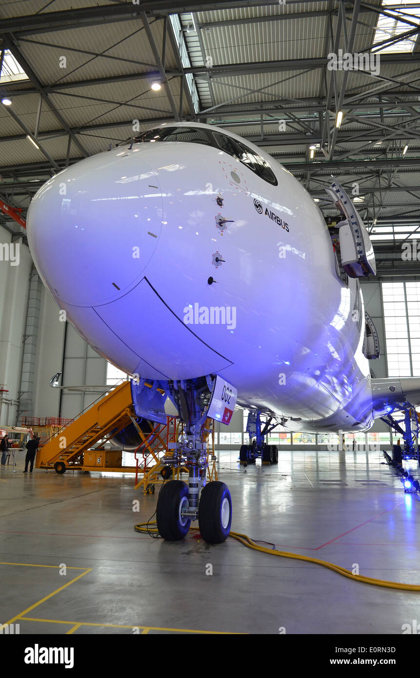 Nose of an Airbus A350XWB at the Airbus headquarters in Finkenwerder, Hamburg, Germany Stock Photo