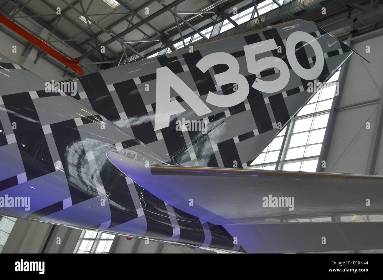 Tailfin of an Airbus A350XWB at the Airbus headquarters in Finkenwerder, Hamburg, Germany Stock Photo