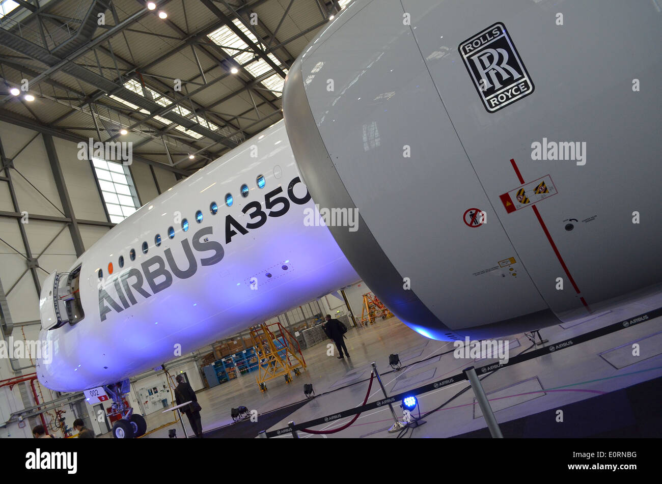 An Airbus A350XWB at the Airbus headquarters in Finkenwerder, Hamburg, Germany Stock Photo