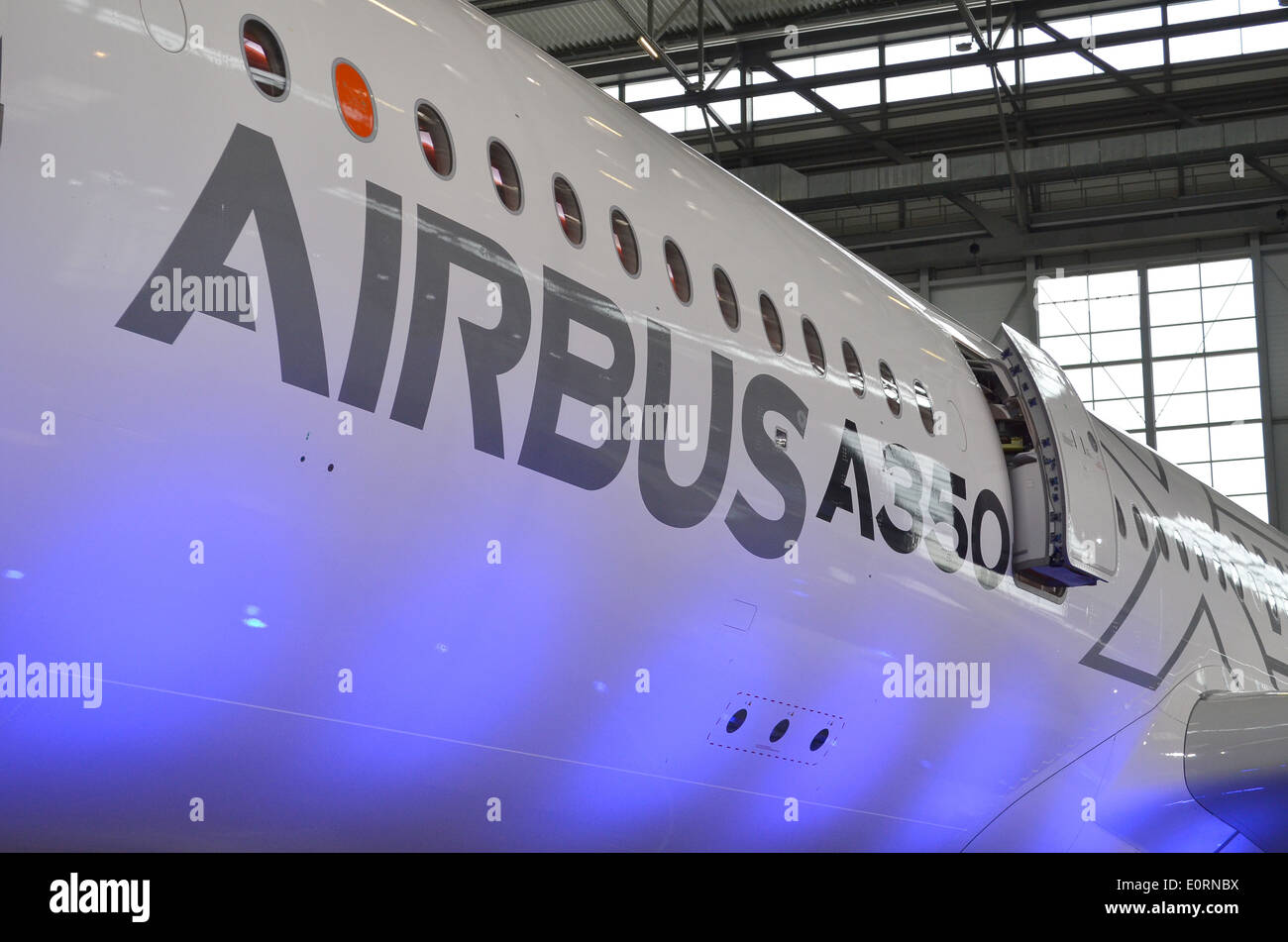 Fuselage of an Airbus A350XWB at the Airbus headquarters in Finkenwerder, Hamburg, Germany Stock Photo