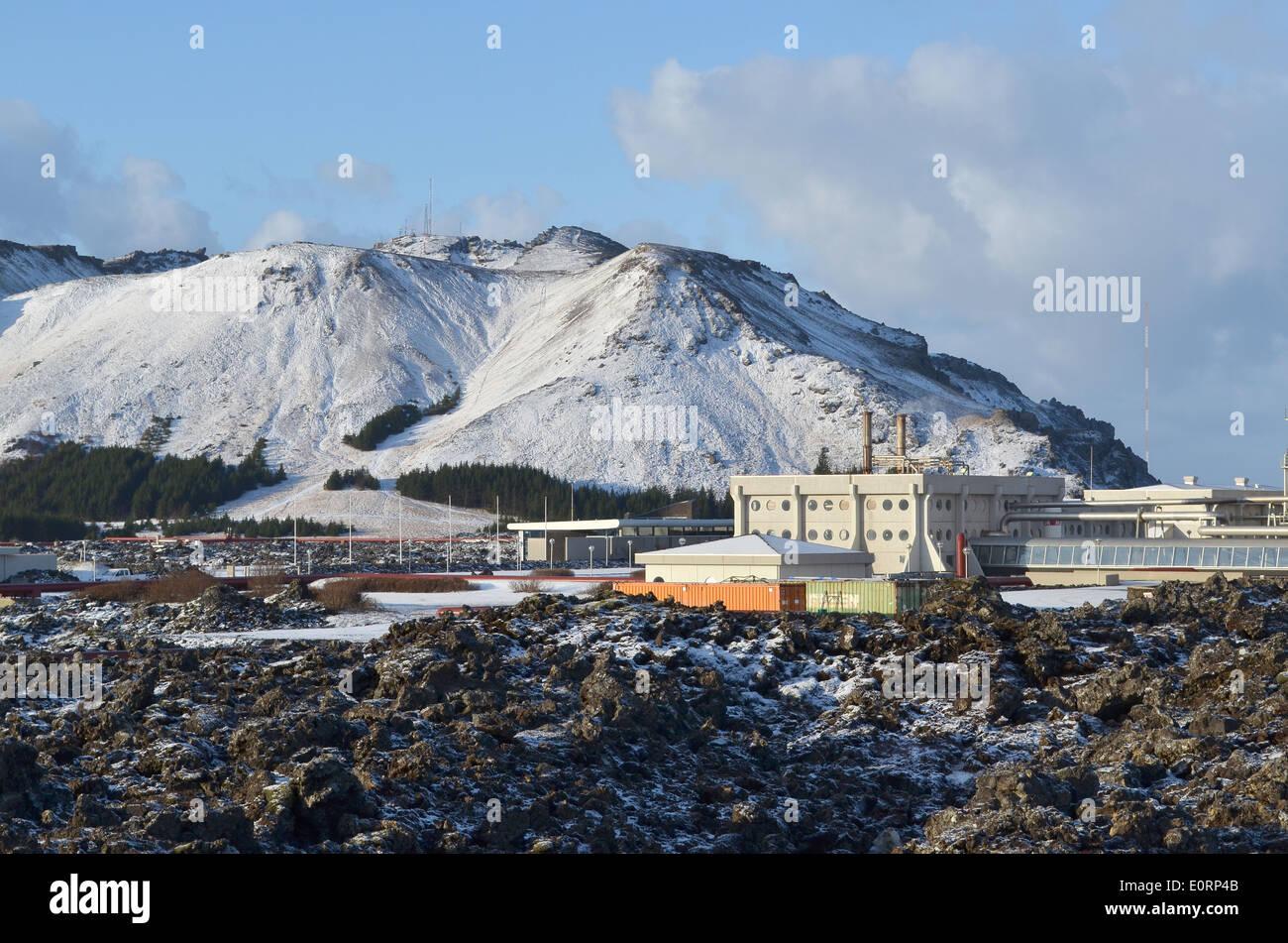 Svartsengi geothermal electrical power station near Grindavik, Iceland - Stock Image