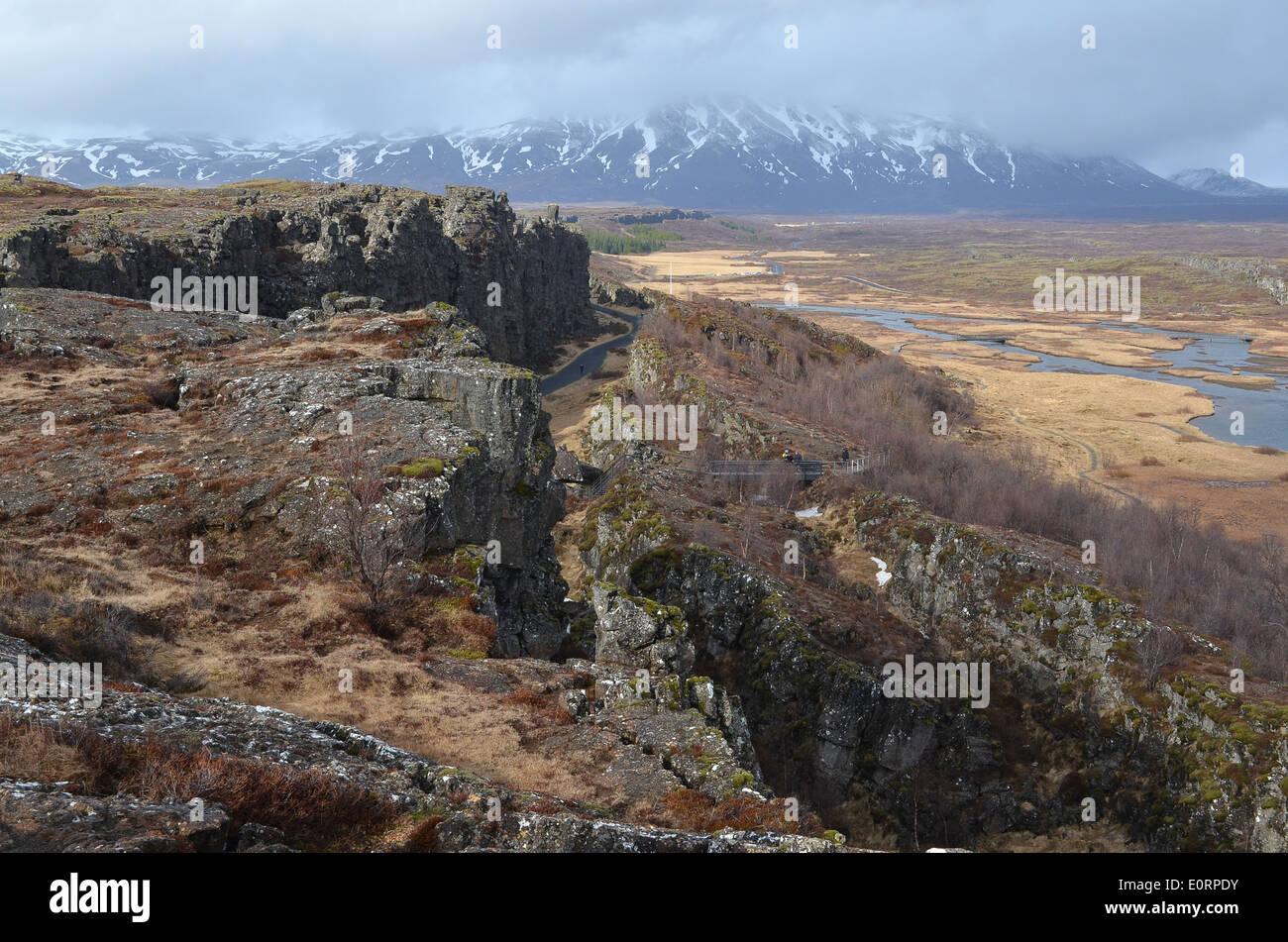 The Almannagjá rift between the American and Eurasian tectonic plates at Þingvellir, Iceland. Stock Photo