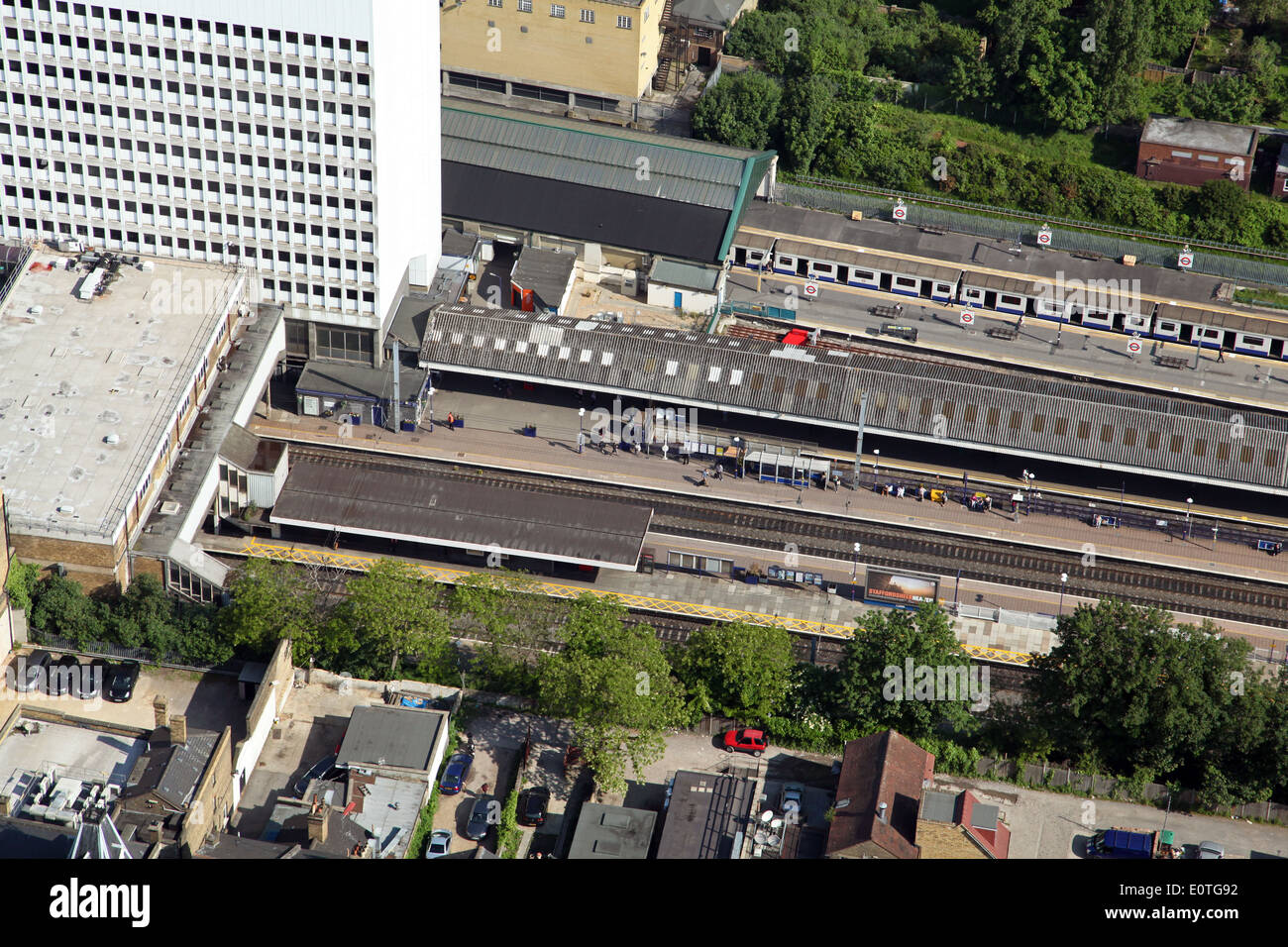 aerial view of London Ealing Broadway railway train station London, UK - Stock Image