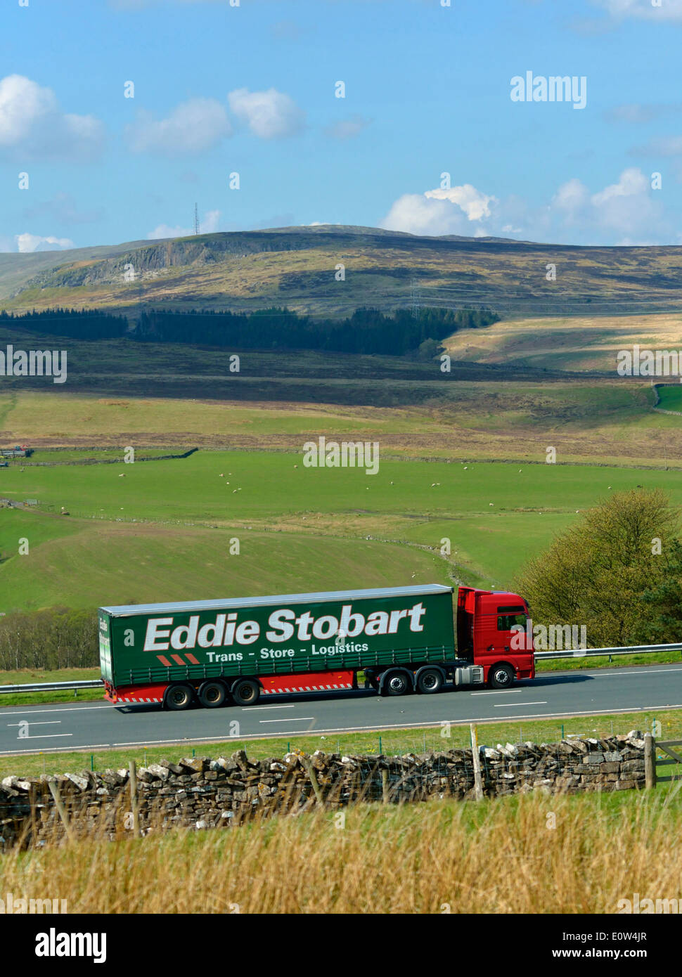 Eddie Stobart HGV on M6 motorway. Shap, Cumbria, England, United Kingdom, Europe. Stock Photo