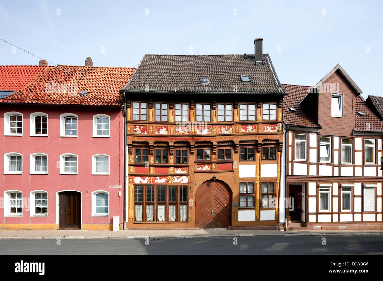 Planets House, building in the Renaissance style, depicting Roman gods as planets, half-timbered house, Alfeld an - Stock Image