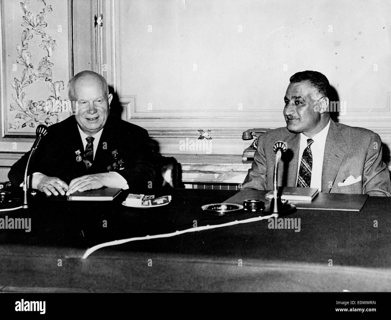 Nikita Khrushchev and Gamal Abdel Nasser at the Kubbeh Palace - Stock Image