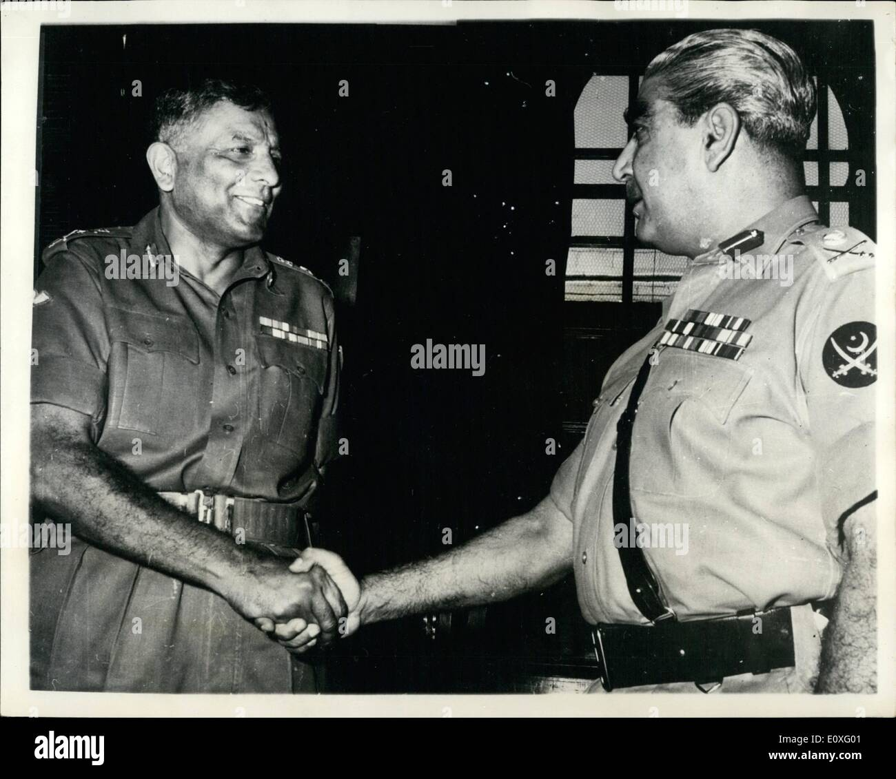 Sep. 09, 1966 - The Hand Of Friendship.: Lt. Gen. A.M. Yahya Khan, C-in-C designate of the Pakistan Army (on right), shakes hands with Gen. P.P, Kumaramangalam, Chief of the Army Staff, India, when he called on him for talks in New Delhi recently. - Stock Image