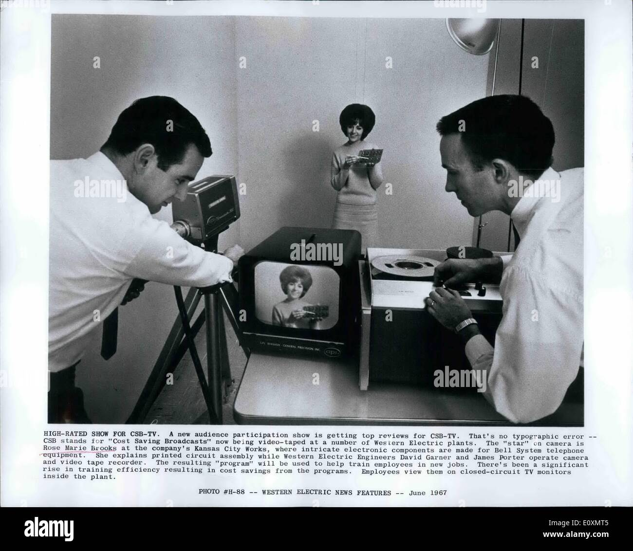 Jun. 06, 1967 - High - Rated show for CSB-TV: A new audience participation show is getting top reviews for CSB-TV. - Stock Image