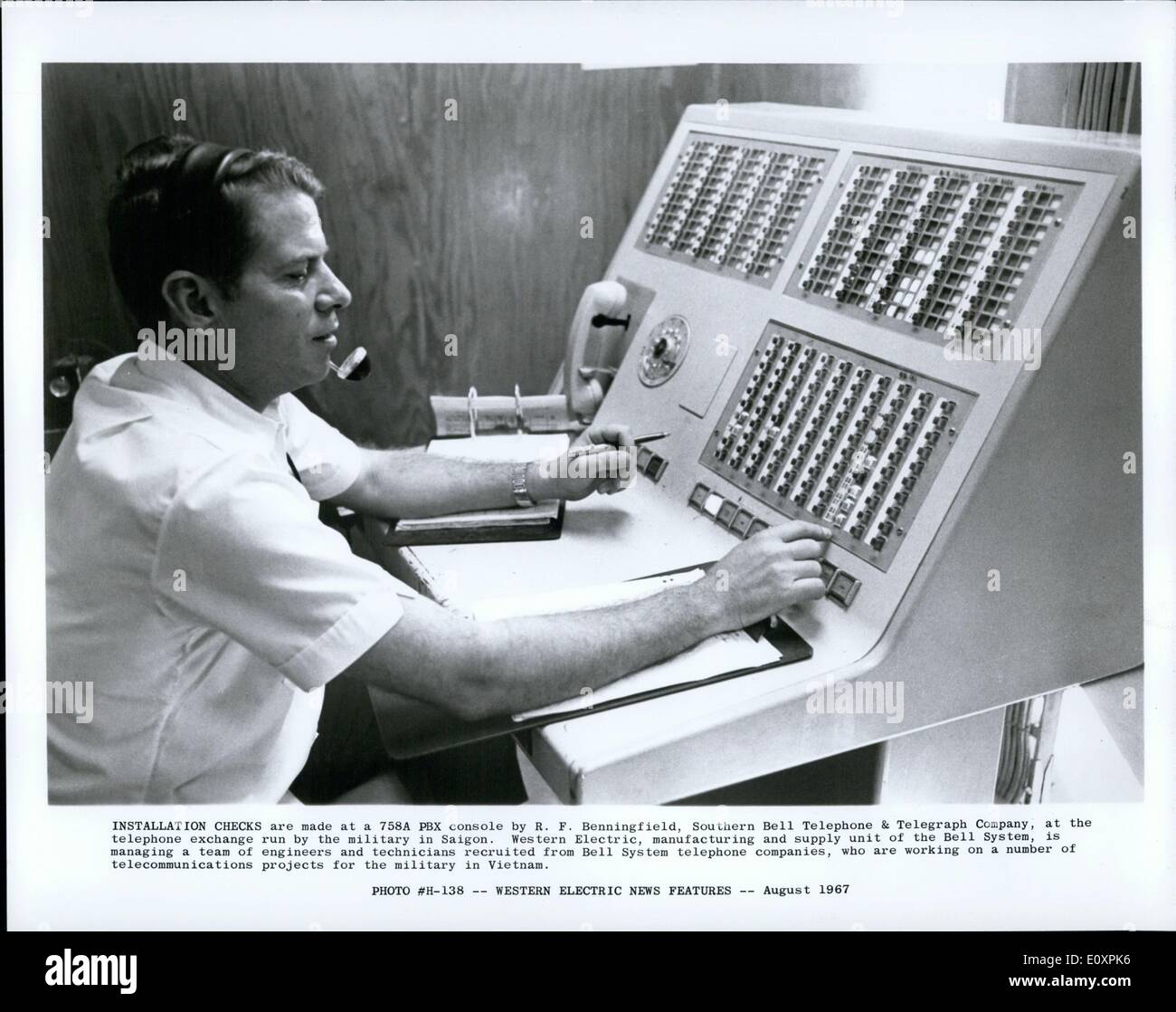 Aug. 08, 1967 - Installation Checks are made at a 758A PBX console by R. F. Benningfield, Southern Bell Telephone - Stock Image