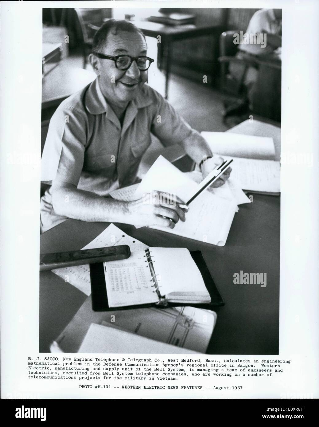 Aug. 08, 1967 - Western Electric News Features.:B.J. Sacco, New England Telephone & Telegraph Co., West Medford - Stock Image