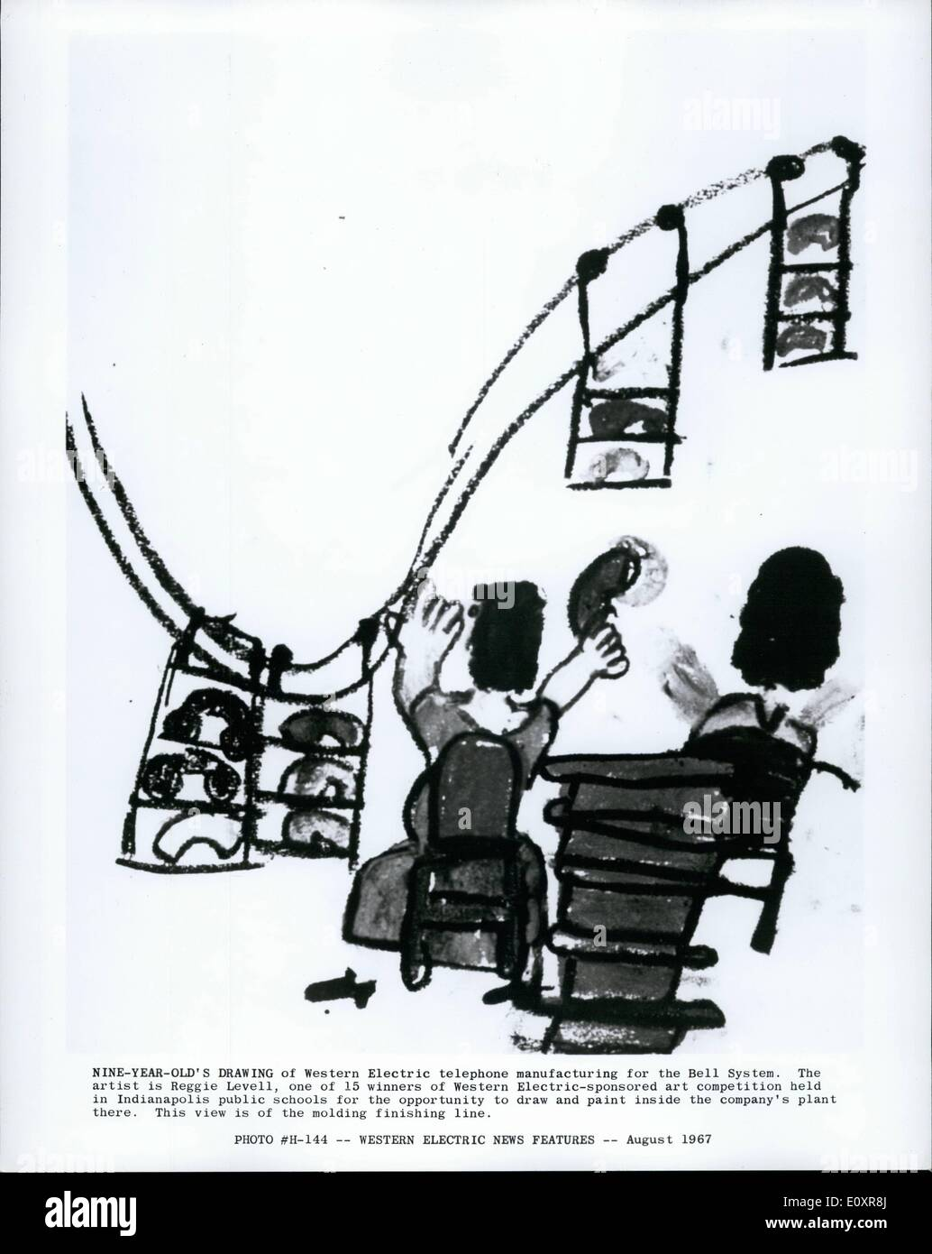 Aug. 08, 1967 - Western Electric News Features.:Nine Year old's drawing of Western Electric telephone manufacturing - Stock Image