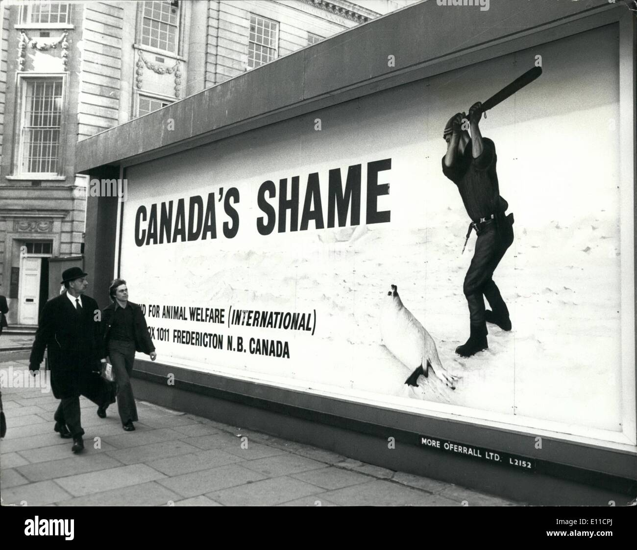 Feb. 02, 1977 - ''Canada's shame' poster appears in London; A poster was errected opposite Canada - Stock Image