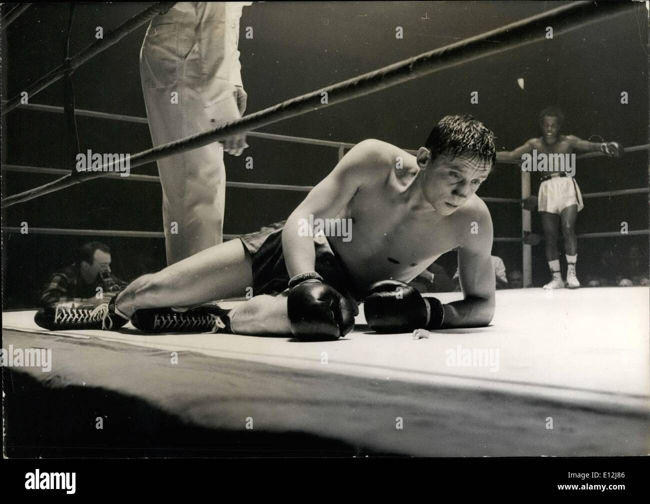 Feb. 24, 2012 - French boxing champion loses his teeth protector and his title; Yesterday night, at the Sports Palace - Stock Image