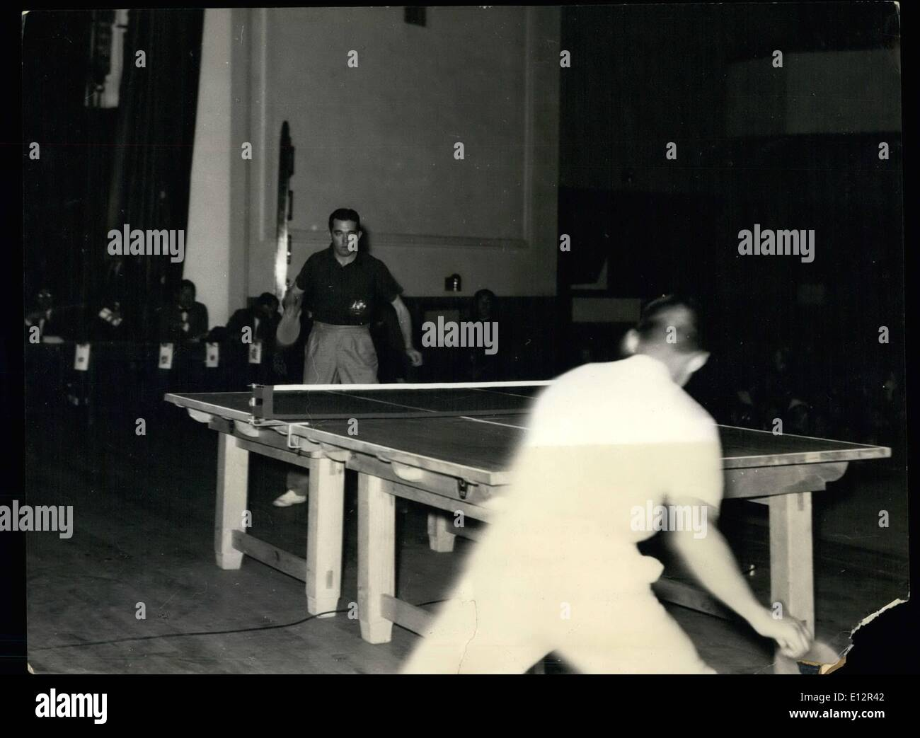 Feb. 24, 2012 - Pan-Pacific table tennis tourney: Kenneth Adamson of Australia playing against Tadaaki Hayashi. - Stock Image