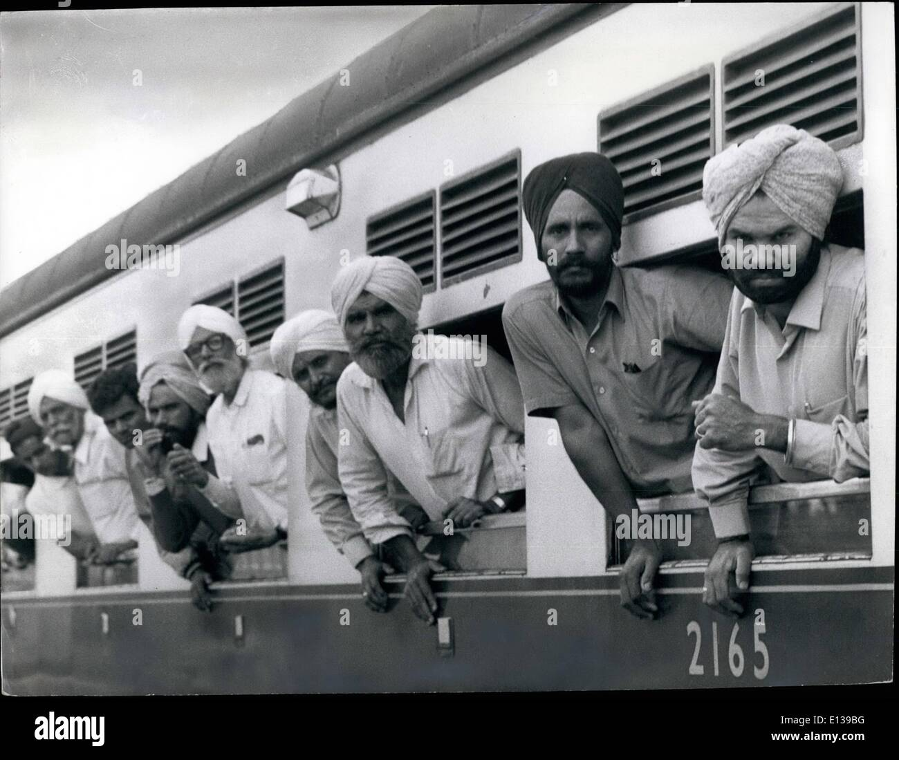 Feb. 29, 2012 - Uganda Asian's exit Sept 72 After almost two days in the train, these Sikhs are tired on dispirited. Stock Photo
