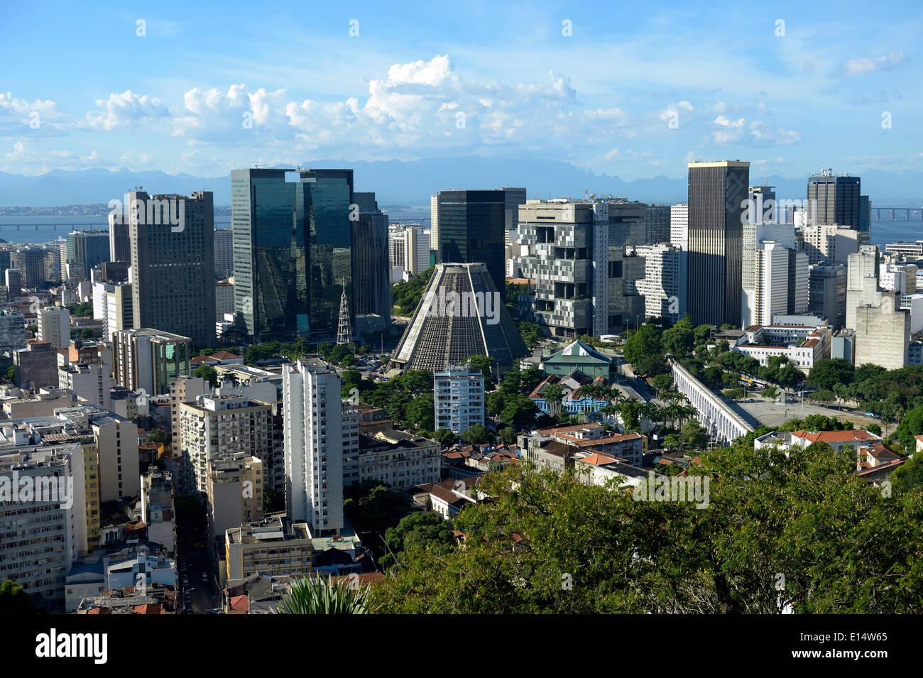 Skyscrapers and Cathedral of Rio de Janeiro, Rio de Janeiro State, Brazil - Stock Image