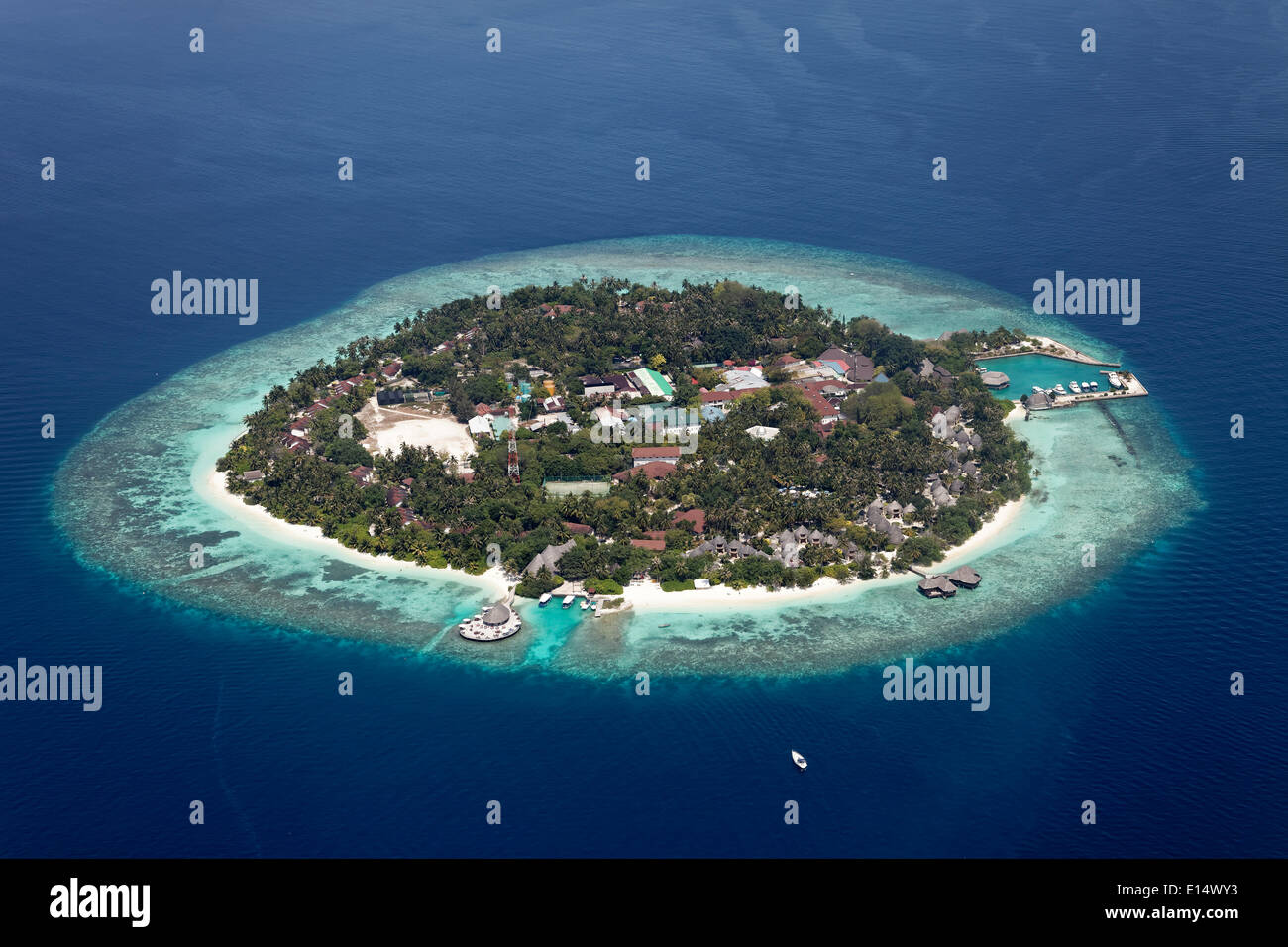 Aerial view, Bandos Island, North Malé Atoll, Indian Ocean, Maldives - Stock Image