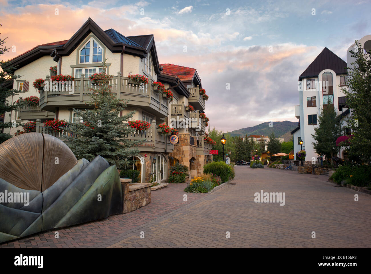Main street in Vail village with sunrise. Vail Colorado - Stock Image