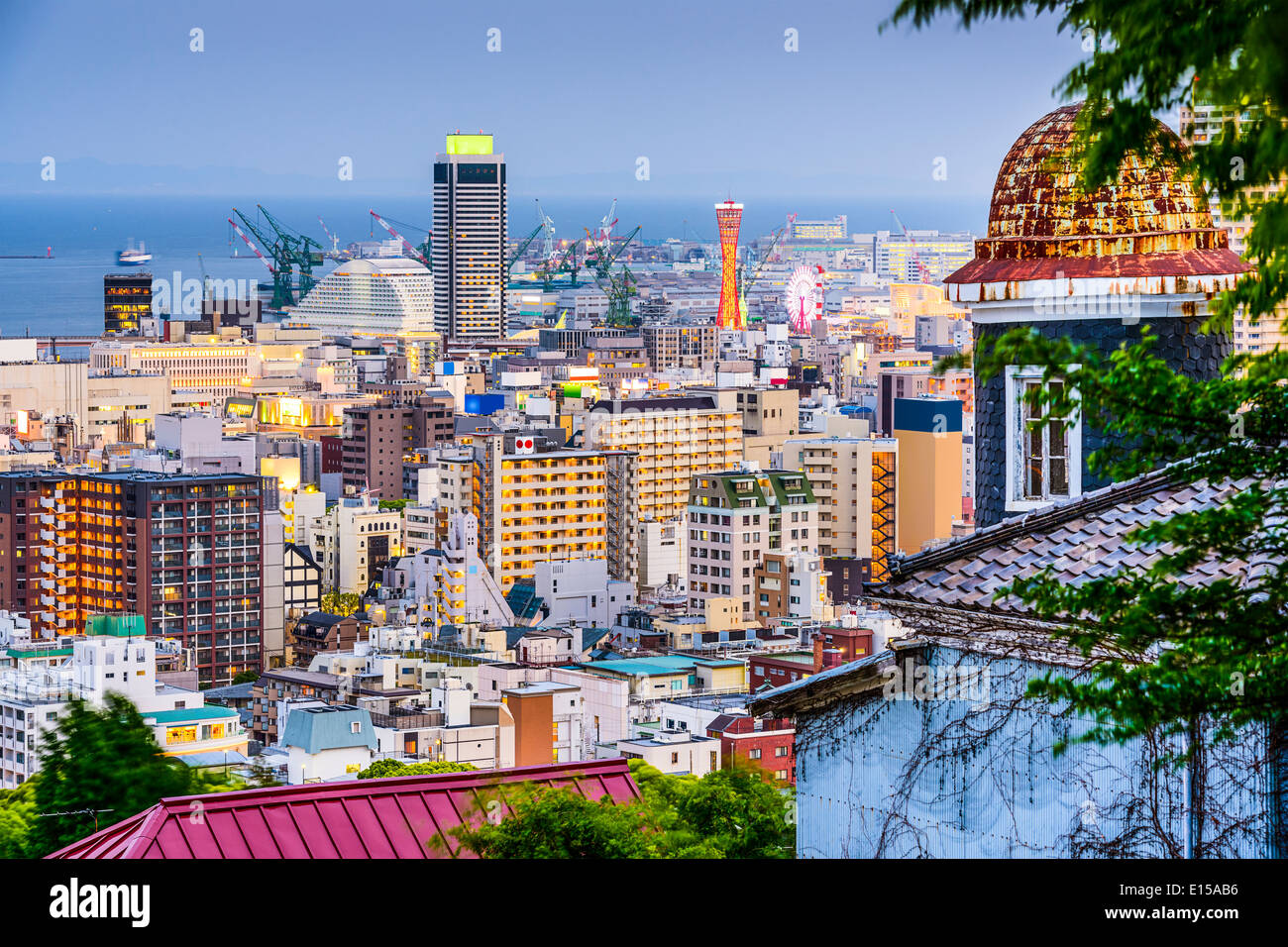 Kobe, Japan skyline from the Kitano District. - Stock Image