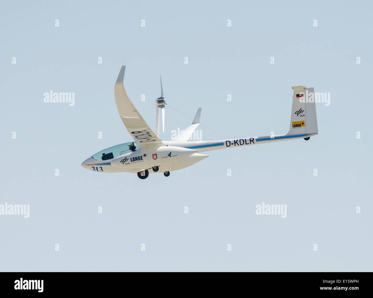 Antares DLR-H2 fuel cell powered plane in flight. First manned plane running on power from fuel cells. - Stock Image