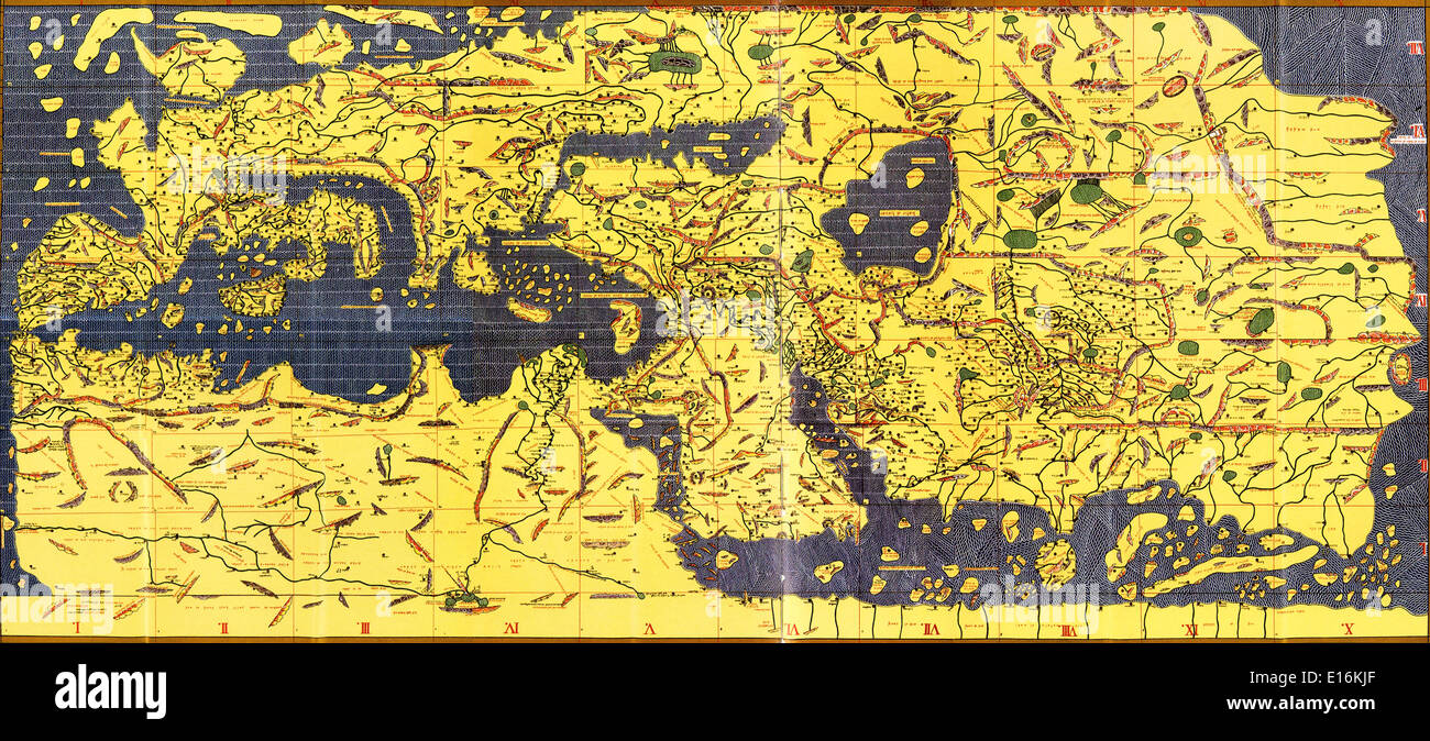 Tabula Rogeriana Old Map Of The World 1154 Ad Upside Down With