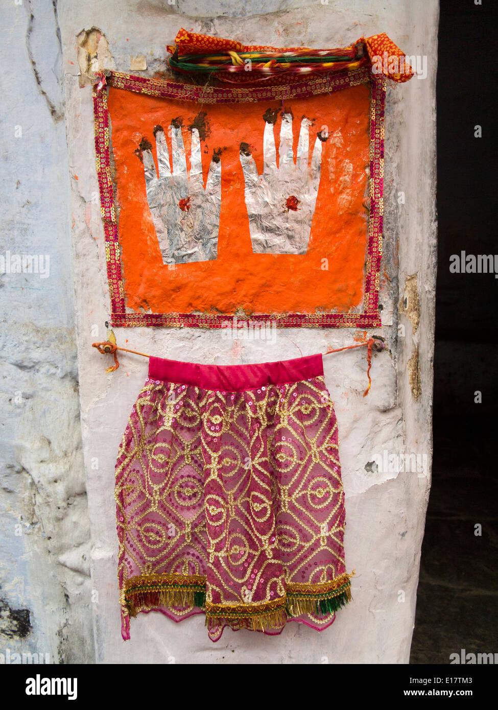 India Rajasthan Udaipur Hamsa Hand Symbols At House Doorway For