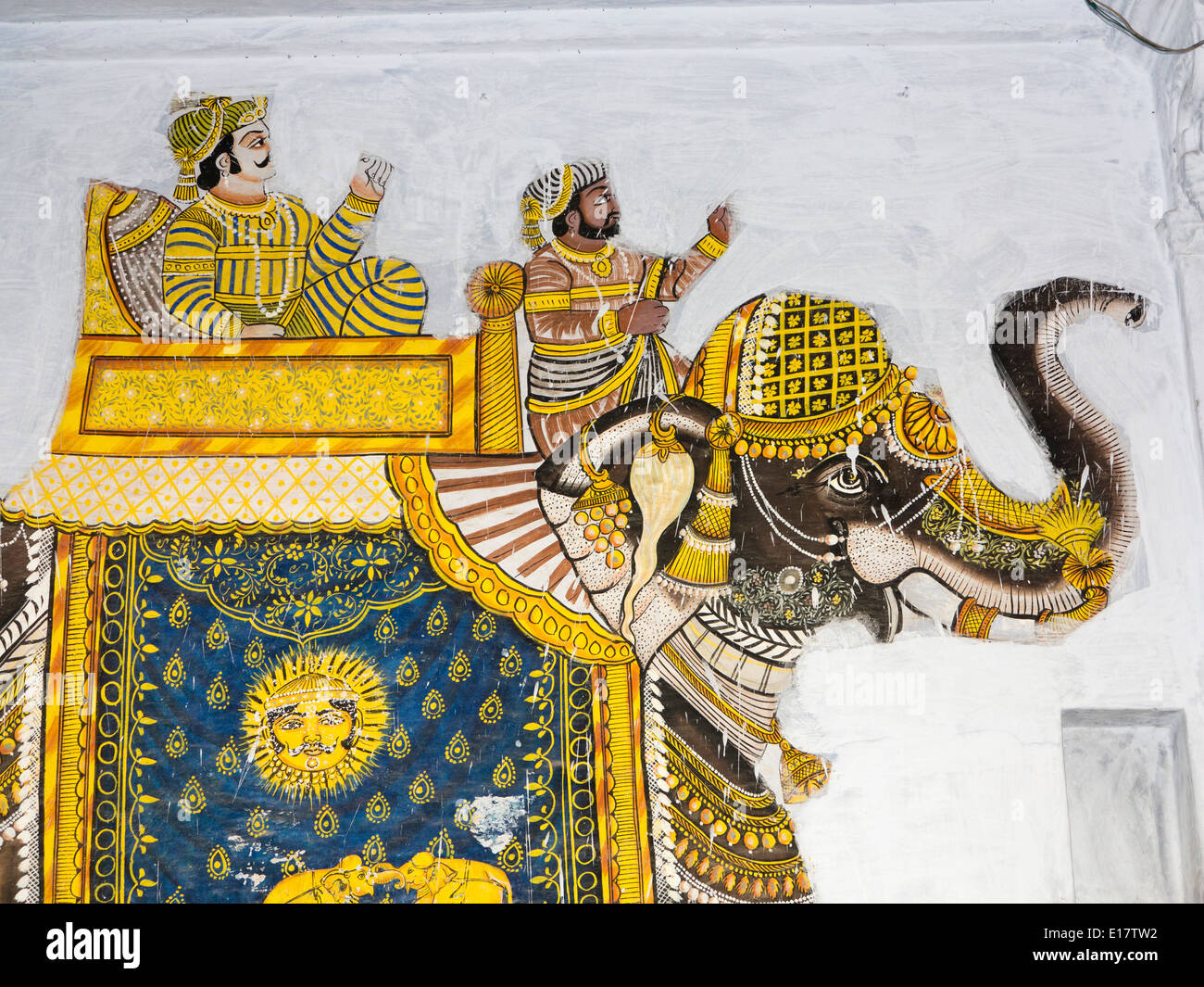India, Rajasthan, Udaipur, traditional wall painting of Rajput men ...